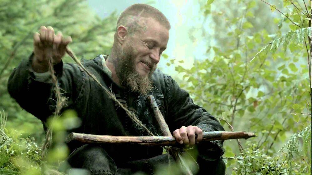 Ragnar haciendo la tumba cristiana de Athelstan.