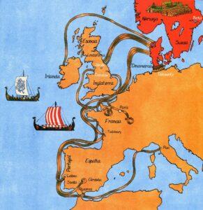 mapa procedencia vikingos